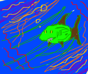 Watermelon Shark in a psychedelic sea