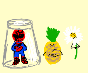 Cross Spiderman, a pineapple, and a daisy.