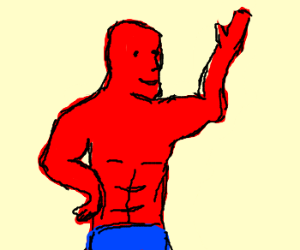 Red man has sexy abs.