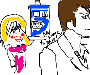 Dr. Who ignores a hooker, tardis in background