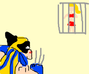 Wolverine rescuing a prostitute from a jail.