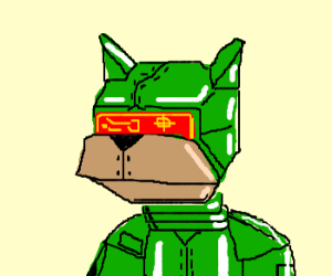 Armored green dog with laser visor.