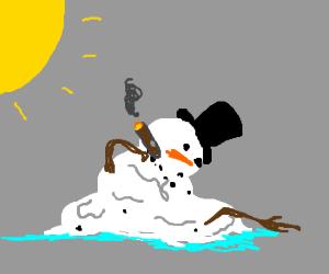 Frosty the snowman smokes a cigar while meltin