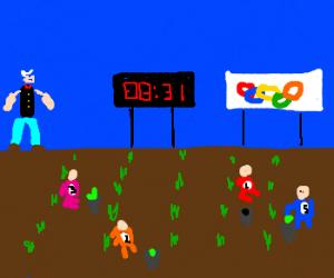 Popeye's annual spinach farmer olympics.