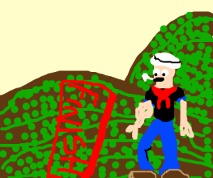 Spinach harvest race with Popeye as referee.