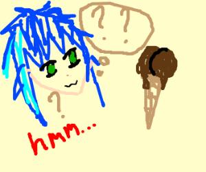 Konata Izumi puzzling over a Chocolate Cornet