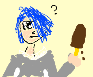 blue-haired anime unsure about choco icecream