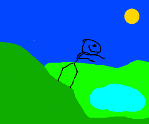 Stickman plans jumping into a pond from a hill