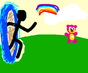 stickman uses portals to go to Care Bear land