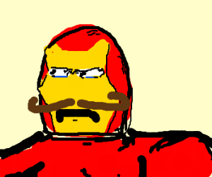 Iron Man tries a new mustache