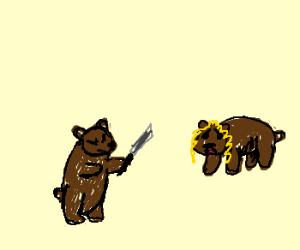 Bear brandishes knife at frightened bear girl.