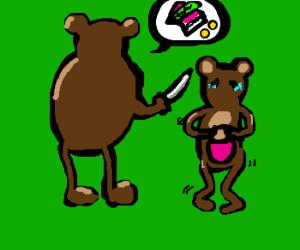 Male bear with knife threatens sad female bear