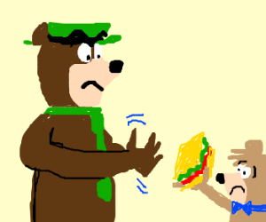 Large bear demands sandwich from little bear.