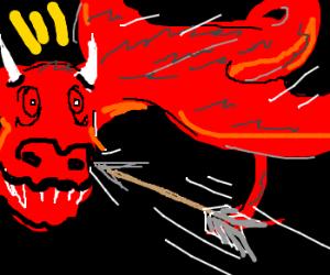 Dragon gets hit with an arrow