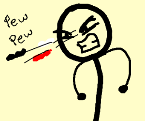 Stickman shoots b&w/red spag out of eyes
