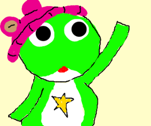 sgt. frog wearing a pink hat with bear ears