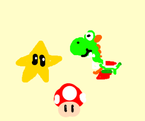 Yoshi hanging out with a mushroom and a star