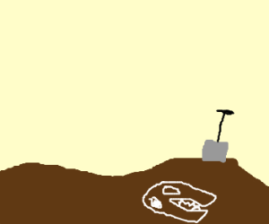 bones in the ground and a shovel in the ground