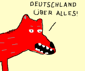 Red wolf speaking german