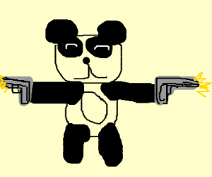 Panda firing a gun with each hand