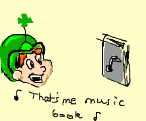 leprechaun bought music lesson book