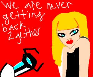 Taylor Swift getting shot by a portal gun