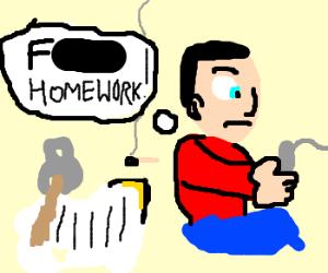 Man mishandles homework. Back to gaming