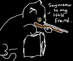 Cat weilding shotgun snipes passerbys