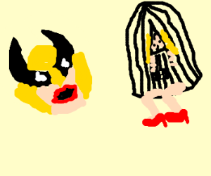wolverine with lipstick surprised by cage lady