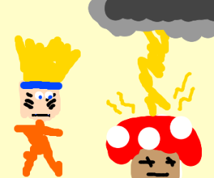 Naruto watches mushroom struck by lightning.