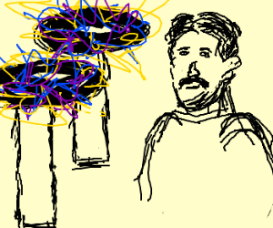 Nikola Tesla in front of two tesla coils