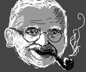 Wide grinning Gandhi smokes a pipe like a sir