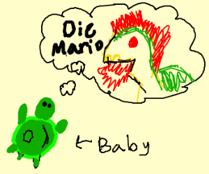 baby turtle wants to be bowser