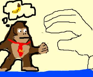 Hungry Donkey Kong fighting Master Hand.