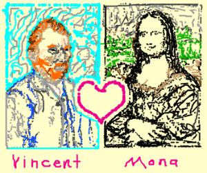 Painting of Van Gough loves Mona Lisa paintin
