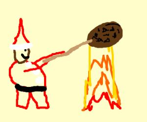 santa claus is roasting cookies