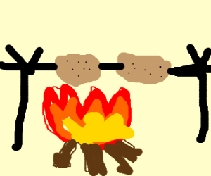 Potatoes are cooked yet in fire