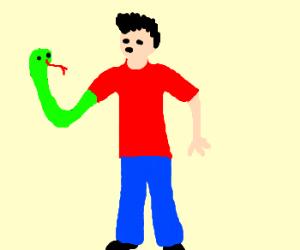 man with snakearm