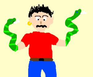 Man with snake-hand.