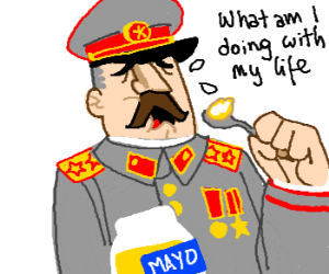 Stalin eats mayonnaise out of the jar.