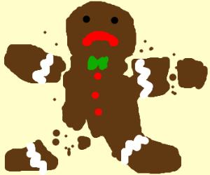 cut up gingerbread man