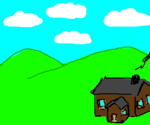 A house and four clouds.