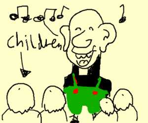 Bald priest yodels at quadruped children