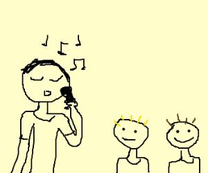 Children watching guy singing