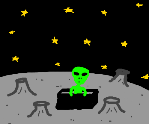 alien standing in black box with stars above