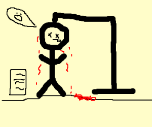 Stickman hangs himself with to-do list left