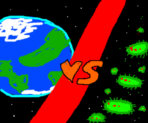 The Earth vs Alien Germs drawing by Hazzaman - Drawception