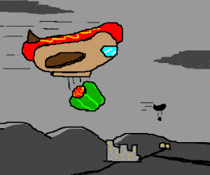 Hotdog-Bomber dropping filled Paprika