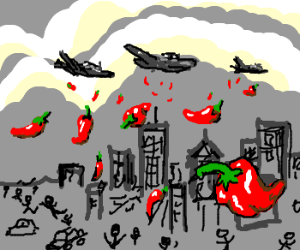 Airstriking the city with red chili pepers