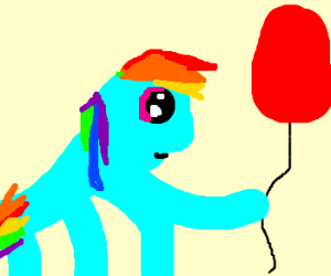 rainbow dash playing with red ballons